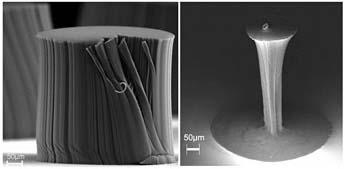 (Un manojo de nanotubos antes y después de la densificación.) (Foto: Rensselaer/Liu)