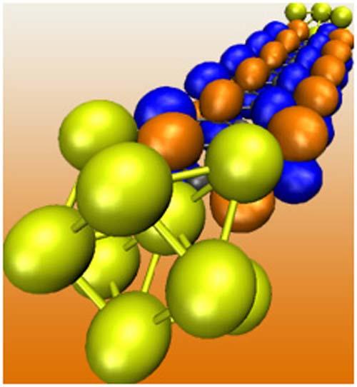 (Gráfico que representa los canales de conducción en una nanocinta de grafeno.) (Foto: Rensselaer/Philip Shemella)