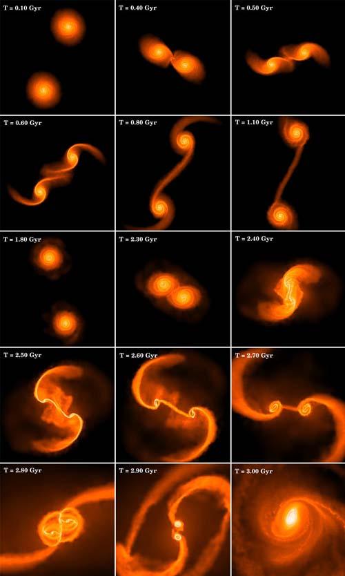 (Simulación de una fusión de galaxias.) (Foto: Stanford U.)