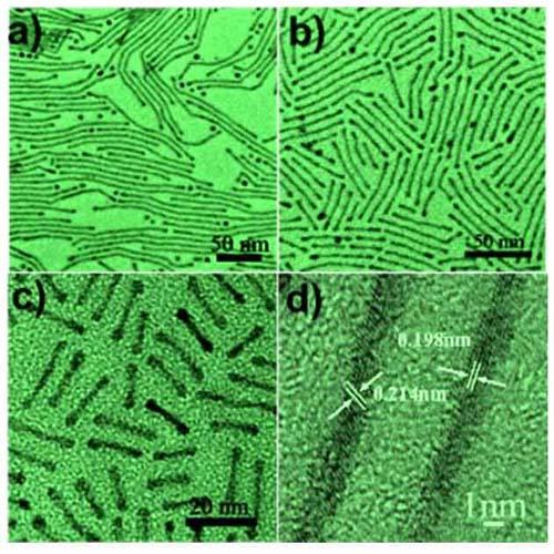 (Diferentes longitudes de nanobarras y nanocables.) (Foto: Chao Wang & Jaemin Kim/Brown University)