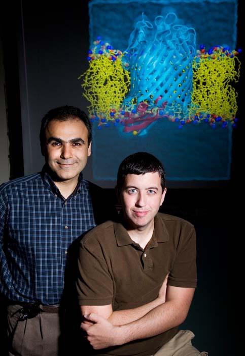 (Emad Tajkhorshid y James Gumbart utilizaron los programas de simulación.) (Foto: L. Brian Stauffer)